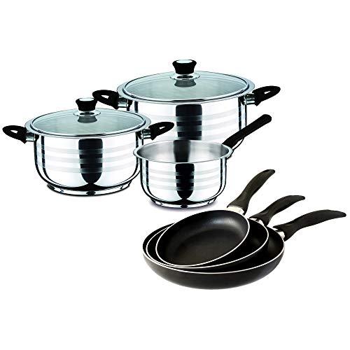 Swiss Home Set Black 16/20/24 y Batería Cocina, Acero Inoxidable y Aluminio prensado, 5 piezas + 3 sartenes