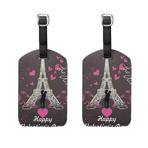 Ahomy Valentine's Day Eifel Tower Love Heart Luggage Tags Large Suitcase Labels Bag Travel Accessorie Set of 2