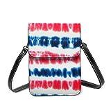 Bolso cruzado pequeño para mujer, tamaño grande, color rojo y azul oscuro, a rayas de color rojo y azul oscuro