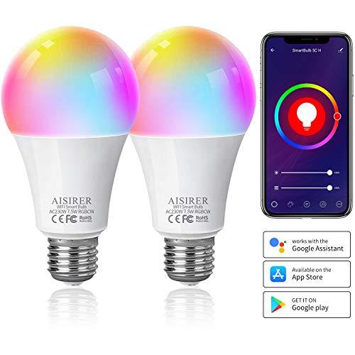 AISIRER Alexa Smart Lampen E27 WLAN Glühbirnen, 2 Pack, Wifi LED Birne Kompatibel mit Alexa Echo, Echo Dot, Google Home, Dimmbares Warmweiß Licht/Tageslicht und Farbige Licht, kein Hub benötigt