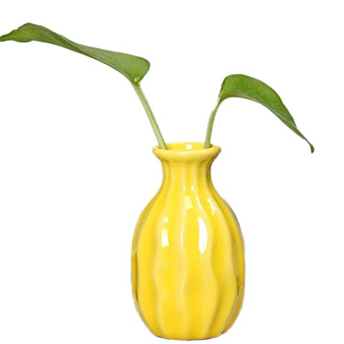JUNGEN Mini Vase Blumentopf Keramikvasen Deko Blumenvase Gelb