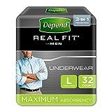 Depend Active Fit - Pantalones de Incontinencia para Hombres, Absorbencia Máxima, L,...