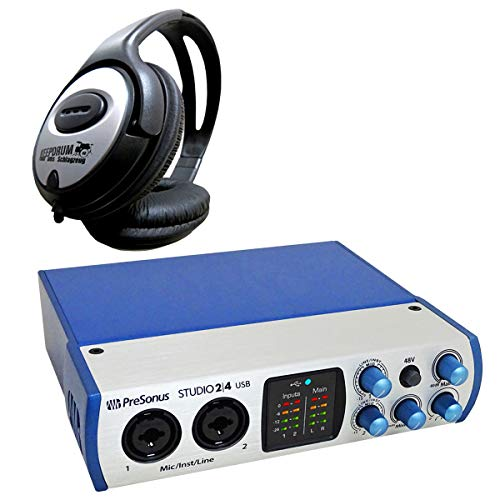 Presonus Studio 24 2-Kanal USB Audio-Interface + keepdrum Kopfhörer