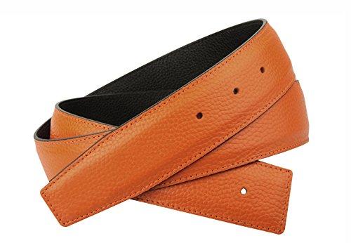 Erdi Ünver Orange Wendegürtel in echt Leder für Herren & Damen 4 cm Breiter Gürtel (90 cm)