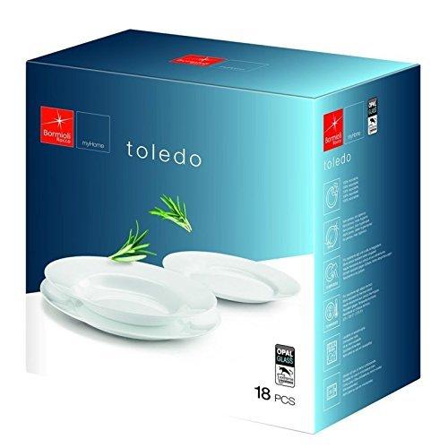 Bormioli Rocco Service de table Lot de 18 Toledo Blanc Vaisselle en verre salle à manger Assiettes