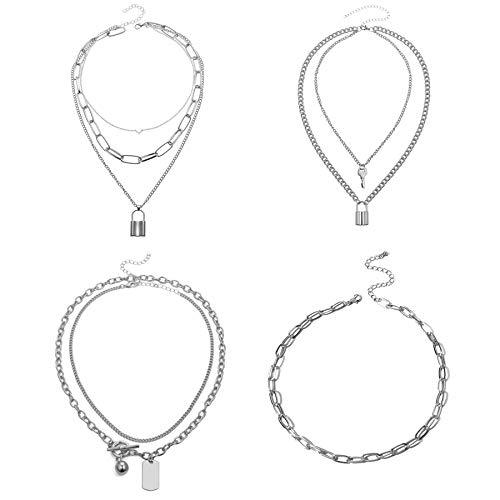 Flongo Frauen Pullover Halskette Mehrschicht Kette Klobige Choker E-Girl Schmuck Emo Gotik Kette mit Schloss Lock Anhänger 4 Stück Set Silber