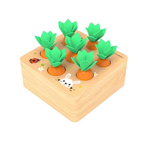 LAMEIDA Lernspielzeug für Das Ziehen von Babykarotten, Lernspielzeug für Kinder aus Holz, Denkspiele für Puzzlespiele, Hand-Auge-Koordination, 12,5 * 12,5 * 5,5 cm