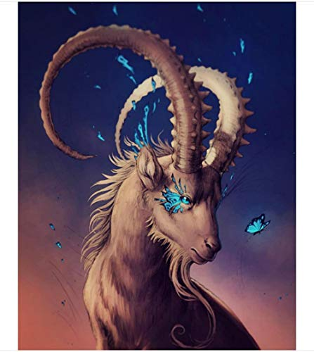 Pintura al óleo digital diy del paisaje animal de cabra con espinas en la esquina de pintura famosa de dibujos animados para decoración del hogar Arts40 * 50cm