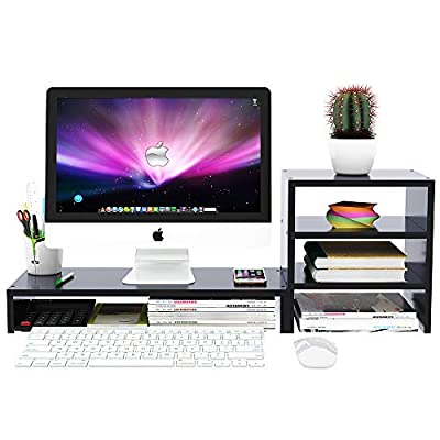 Wood Computer Monitor Stand Raiser Black with 3 Tier Desktop Organizer Storage Shelf and PC Screen TV Riser for Home Office