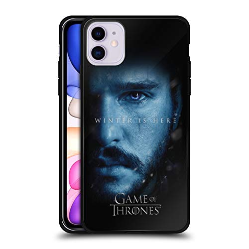 Head Case Designs Officially Licensed HBO Game of Thrones Jon Snow Winter is Here Black Hybrid Glass Back Case Compatible with Apple iPhone 11