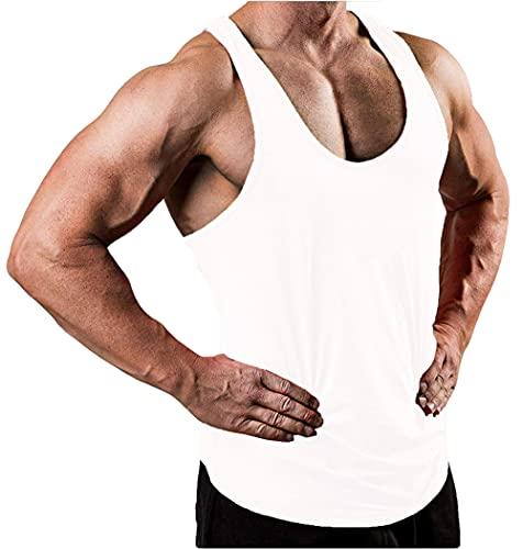 Shirt Spiaggia Uomo Basic Girocollo da Uomo Tinta Unita Uomo Tank Top Estate Traspirante Moderna Uomo Canotta Sportiva Tendenza Cool Uomini Canottiera G-White XXL