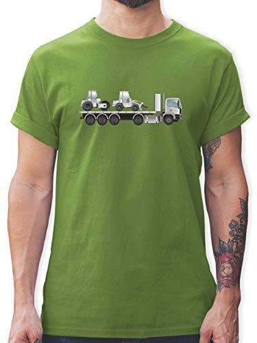 Andere Fahrzeuge - Tieflader Sattelauflieger Walze Radlader - L - Hellgrün - Baumaschine - L190 - Tshirt Herren und Männer T-Shirts