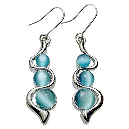 QKFON Pendientes ondulados de gema azul, pendientes ondulados de ojo de gato, pendientes de curva creativa, tuerca de piedra natural para mujer