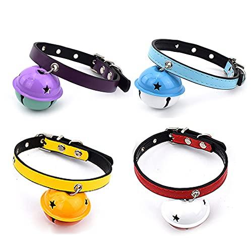 4Pcs Collares de Cuero para Mascotas, Collar para Mascotas, Collar de Mascota de Cuero de Color, Collar de Gato de Cuero, Collares para Gatos con Cascabeles, Collares para Perros, para Mascotas
