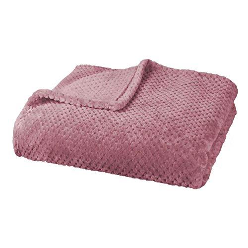 Delindo Lifestyle® Kuscheldecke Milano rosa, Mikrofaser Fleece-Decke, 220x240 cm XXL, Bettüberwurf, flauschig weiche Wohndecke Tagesdecke für entspannte Abende
