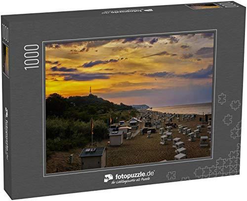 fotopuzzle.de Puzzle 1000 Teile Strandkörbe im Sonnenuntergang am Strand in Heringsdorf auf der Insel Usedom. Ostsee in Deutschland (1000, 200 oder 2000 Teile)