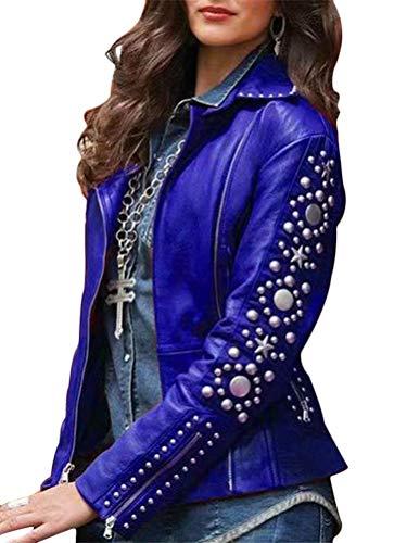 Minetom Damen Kunstleder Jacke Motorradjacke Bikerjacke PU Lederjacke Outwear Vintage Strass Zipper Mantel Blau 40