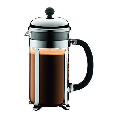 Bodum 1928-16-10 CHAMBORD Kaffeebereiter, 8 Tassen, 1 l mit Bechergefäss aus PC, Edelstahl