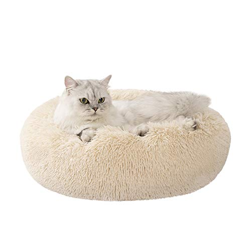 Love's cabin 24in Cat Beds for Indoor Cats - Cat Bed with Machine Washable, Waterproof Bottom - Beige Fluffy Dog and Cat Calming Cushion Bed for Joint-Relief and Sleep Improvement