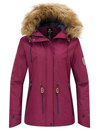 Wantdo Damen wasserdichte Skijacke Fleece gefüttert Berg Parka draußen Winddichte Regenjacke mit Kapuze Windjacke mittel weinrot