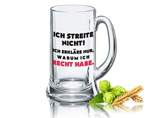 Divertido cerveza cristal Jarra de cerveza Icon 0,5L–Decoración: Ich streite No.–Yo erkläre sólo, ¿Por qué Que He Derecho.