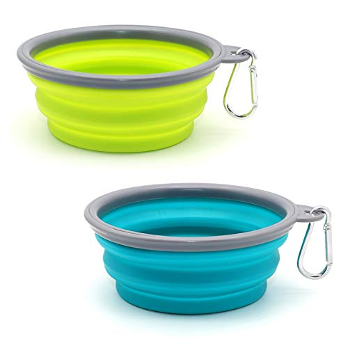 SLSON Collapsible Dog Bowl 2 Pack, Portable Silicone Pet Feeder, Foldable Expandable for Dog/Cat...