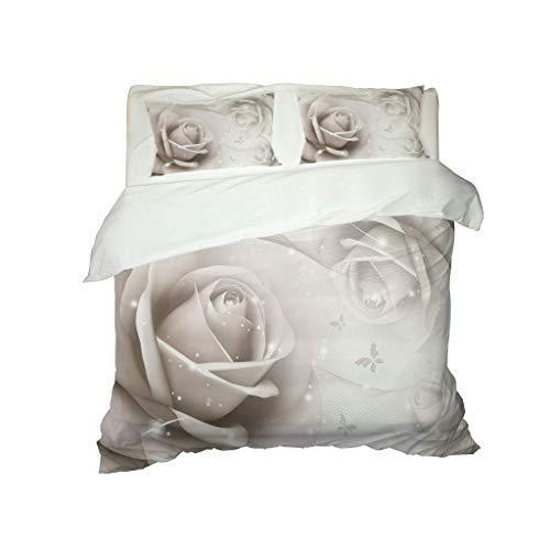 FHMSNDN Funda nórdica, Colcha, Exquisito Estampado de Rosas Blancas Impresas en 3D, Funda nórdica Ligera y Transpirable (230x260cm + 2 Fundas Almohada)