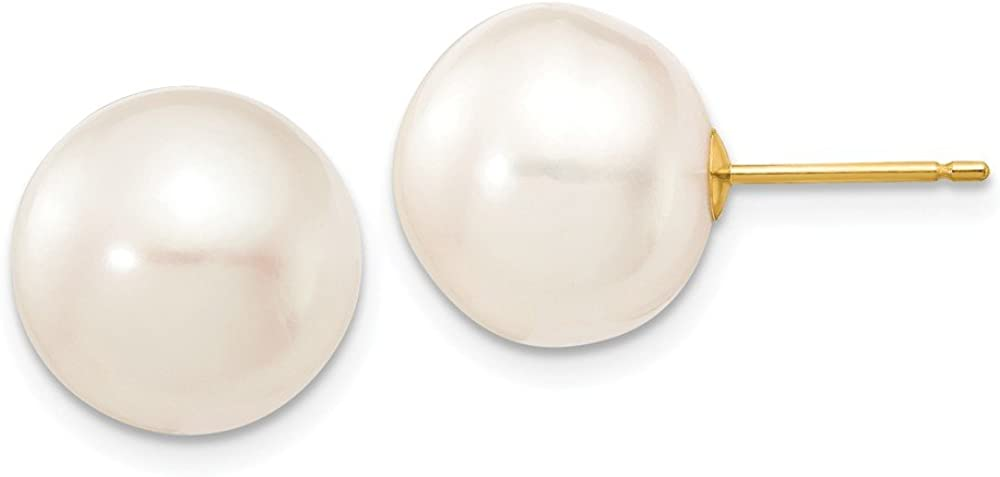 14K Yellow Gold 11-12mm White Button FW Cultured Pearl Stud Earrings