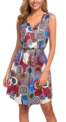 Kormei - Vestito estivo da donna, senza maniche, lunghezza al ginocchio multicolore M