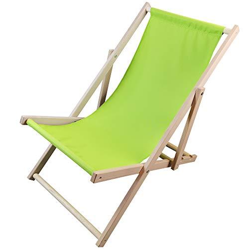 DILUMA Liegestuhl Sunny Grün - Strandliege aus Holz - 3-Fach verstellbare Relaxliege für Garten, Strand, Balkon oder Camping