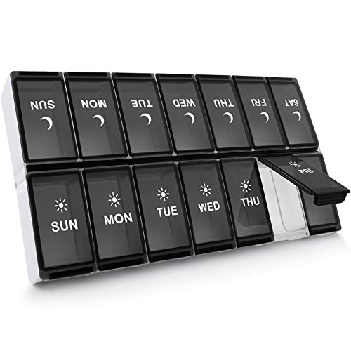 SevenYing XL Pill Organizer 2 Times a Day, Extra Large Weekly Pill Box, AM PM Pill Case, Pill Container 7 Day, Vitamin Organizer Case Twice a Day