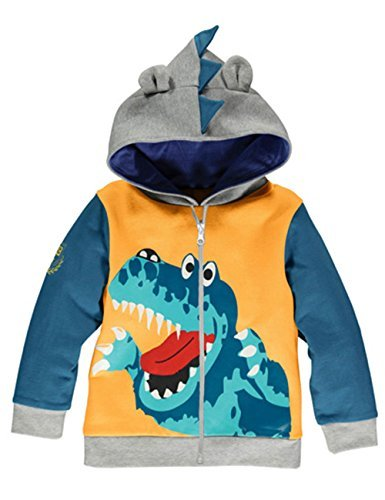 Little Hand Boys Cute Animal Dinosaur Hoodie Sport Long Sleeve Cartoon Hooded Sweatshirt ,Yellow,2-3 Years/ 3T