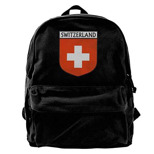 GOSMAO Mochila de Lona Mochilas Escolares Bandera Suiza Mochila de Lona para portátiles Mochilas de Viaje Bolsa de Gran Capacidad Unisex