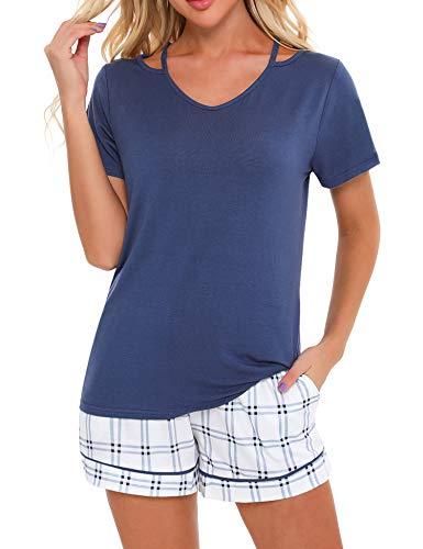 Irevial Pijamas para Mujer Verano Corto, Pijamas de 95% Algodon, Conjunto Camiseta de Manga Corta y Pantalones con Cuadros, Elástico Ropa de Dormir 2 Pieces