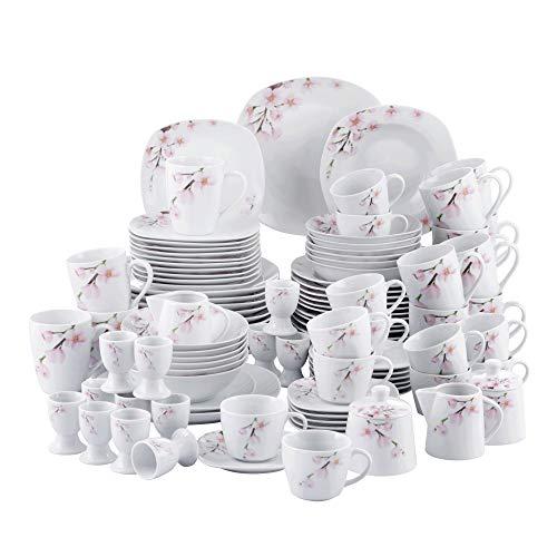 VEWEET Tafelservice 'Annie' aus Porzellan 100 teilig   Kombiservice beinhatlet Dessertteller, Speiseteller, Suppenteller, Müslischalen, Kaffeebecher, Kaffeetassen Set, Eierbecher, Milch- und Zuckerset