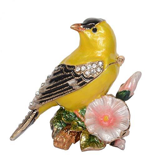 YIYYI Caja De Joyería De Abalorio De Pájaro Canario, Estatuilla De Pájaro del Tesoro De Metal Pintado A Mano, Decoración Vintage, Artesanía De Metal, Mesa