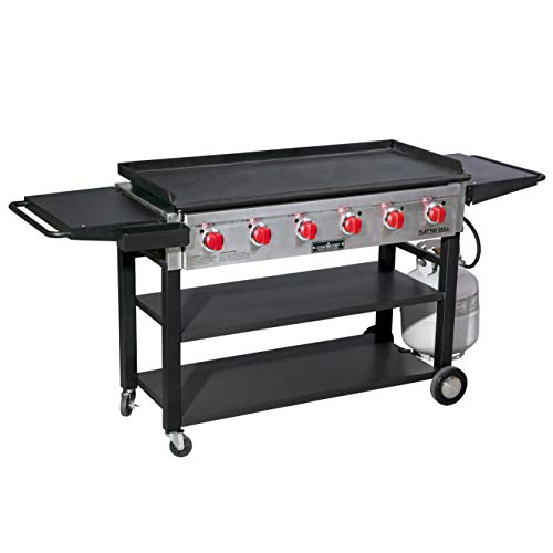 Camp Chef 6-Burner 900 Flat Top Grill w/ 877 sq in Pre-Seasoned Cold Rolled Steel Griddle Dining Features Kitchen