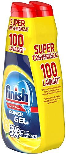 Finish Powergel, Gel Detersivo per Lavastoviglie Liquido, Multiazione, Limone Sgrassante, 100...