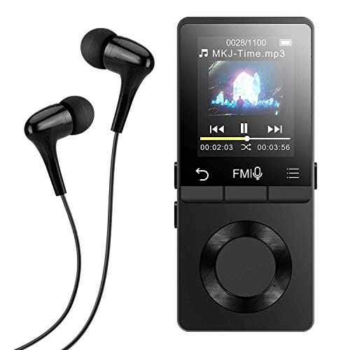 AGPTEK Metal MP3 Player with Loud Speaker, 8GB Lossless Music Player Supports FM Radio Recording with HD Headphones, Expandable Up to 128GB, Black, M6