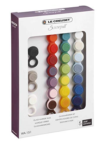 LE CREUSET WA151 Set di 24 Segnabicchieri, Plastica, Multicolore