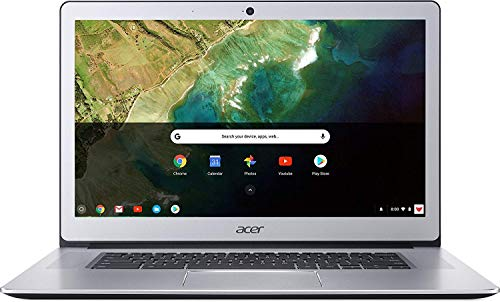 Acer Chromebook 15, Intel Celeron N3350, 15.6' Full HD Touch, 4GB LPDDR4, 32GB Storage, Google Chrome, Pure Silver, CB515-1HT-C2AE, 15-15.99 Inches