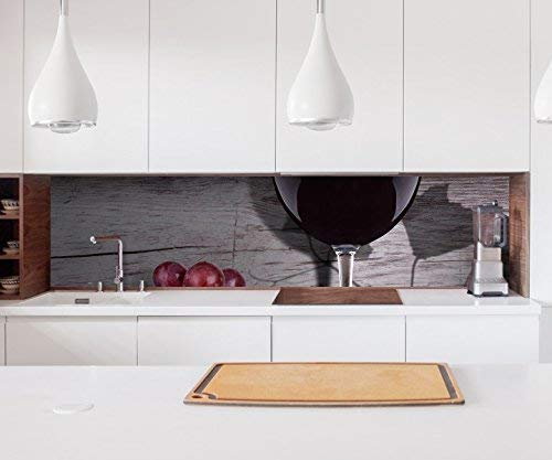 Aufkleber Küchenrückwand Wein Glas Trauben Essen Küche Vintage Kitchen Küche Folie Fliesen Möbelfolie Spritzschutz 22?1628, Höhe x Länge:70cm x 150cm