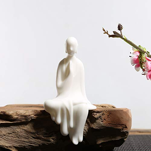 KJYHXX White Ceramic Little Monk Furniture Handmade Home Deco Creative Gift (Worship)