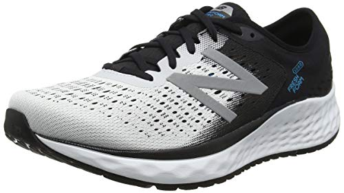 New Balance Men's Fresh Foam 1080 V9 Running Shoe, White/Black/deep Ozone Blue, 9 D US