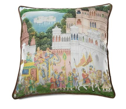 Kalakriti Cushion Cover Ethnic Cotton with Border 60x60 Reproduction of an Ancient and Classical Indian Painting of a Picture of a Traditional Indian Palace