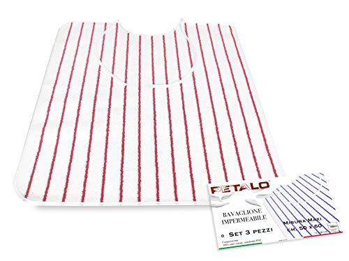 SET DI 3 BAVAGLIONE ADULTO impermeabile PETALO © bavaglio con LACCI antimacchia misura MAXI completo di sacco per il lavaggio - 3 PEZZI colori UOMO