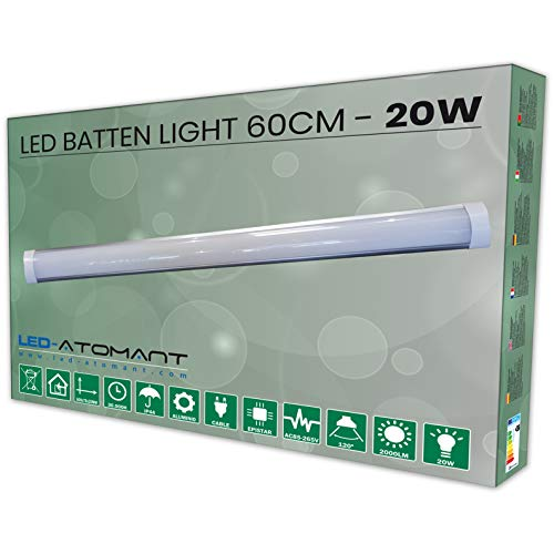 Lampara Luminaria Led 60 cm 20w. Color Blanco frio (6500K). Tubo led integrado T8. 1700 Lumenes. Regleta led slim. A++