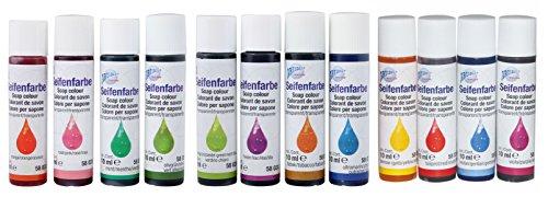 CREARTEC 12er Set Seifenfarben - Sortiment 12 x 10ml transparentes Farbenset - für die individuelle Seifenherstellung mit transparenten Farben - Made in Germany