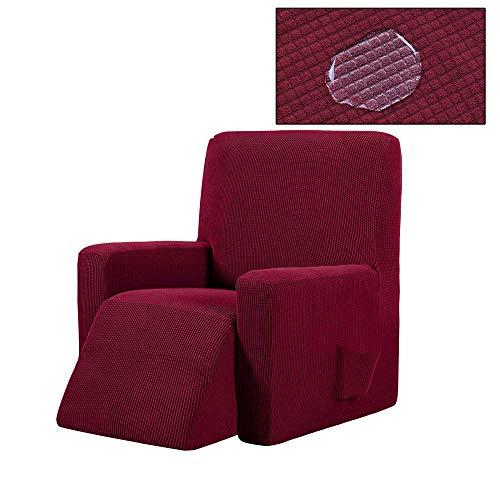 ADELALILI Funda de Sillón Relax de una Plaza Ajustable Elástica Rojo Universal Funda Cubre Sofá Relax Protector para Sofás Cubierta con Bolsillo Lateral