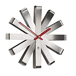 Umbra, Stainless Steel Ribbon Modern 12-inch, Battery Operated Quartz Movement, Silent Non Ticking Wall Clock